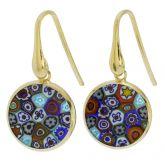 Millefiori round dangle earrings -gold