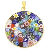 """Large Millefiori Pendant """"Multicolor"""" in Gold-Plated Frame 32mm"""