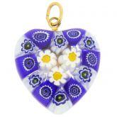 Millefiori Heart Pendant Medium - Blue Daisies