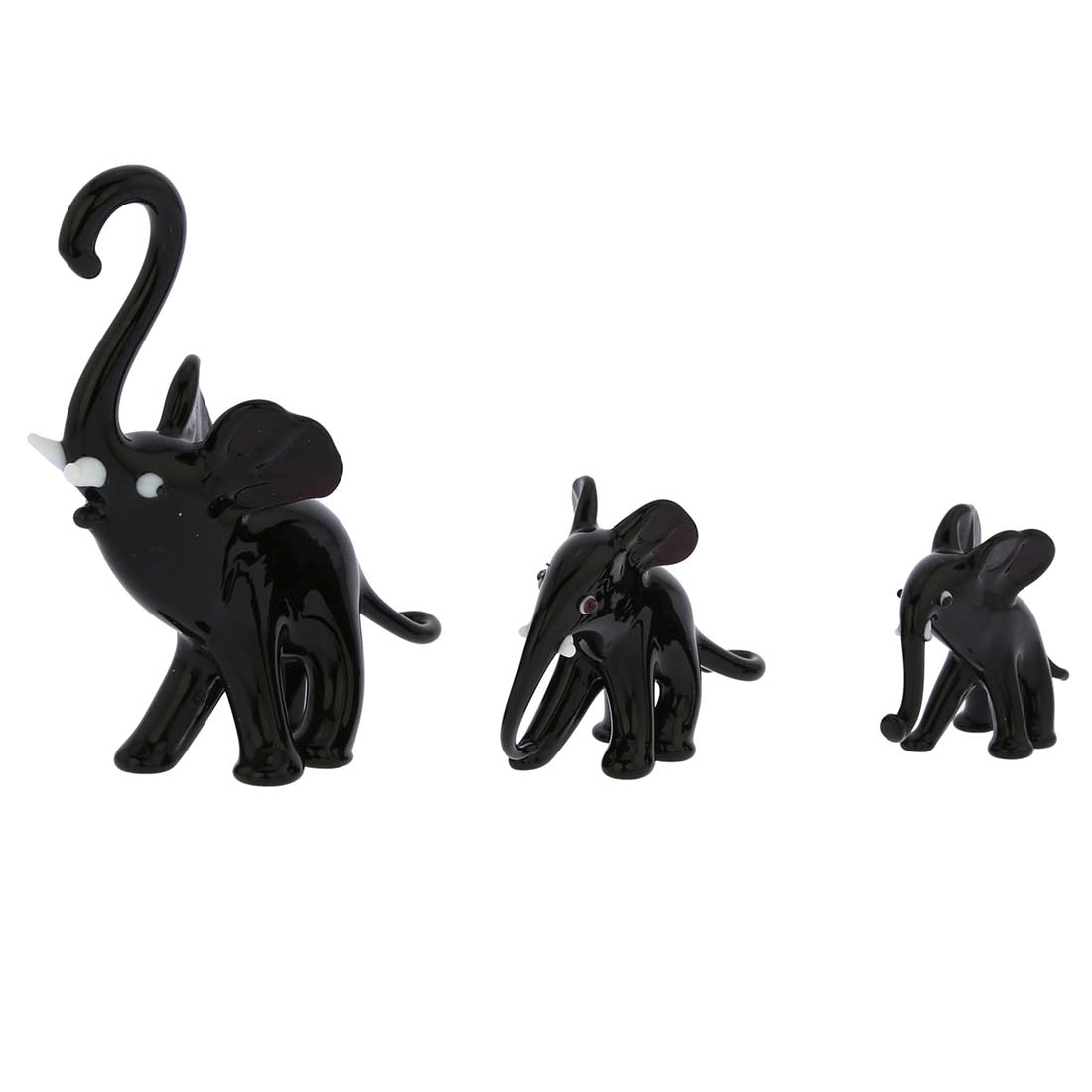 Murano Glass Elephant Family - Black