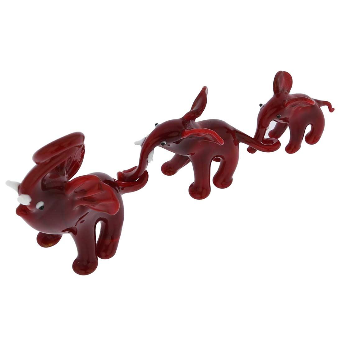 Murano Glass Elephant Family - Red