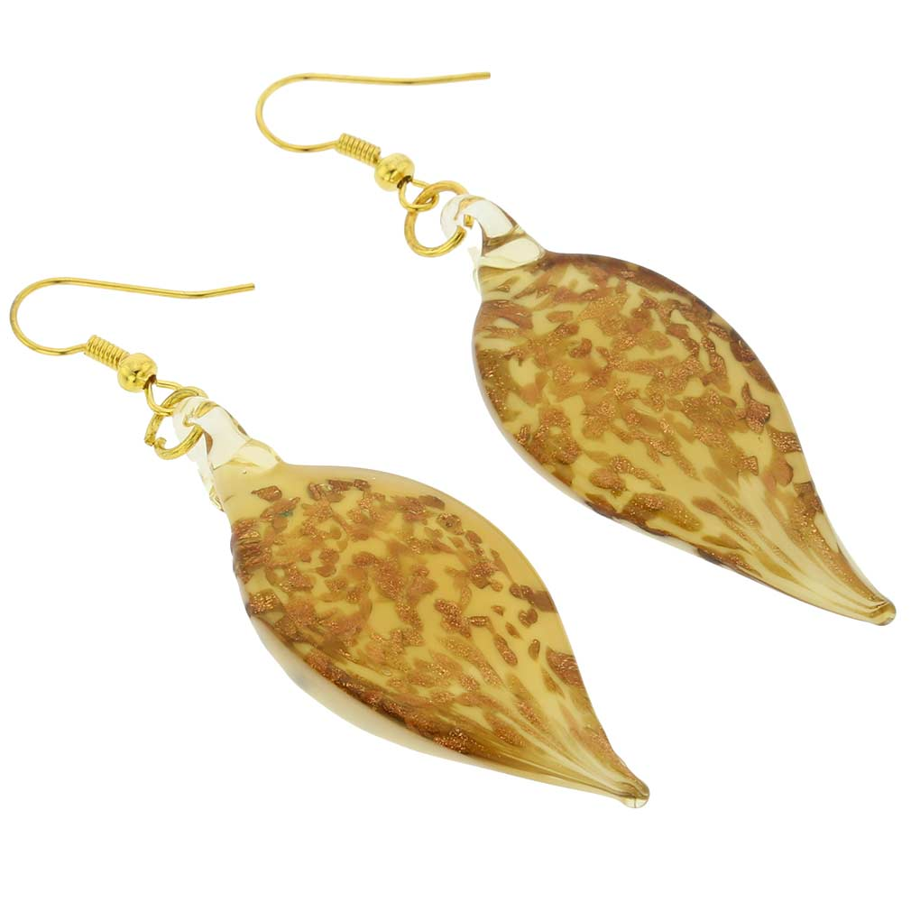 Twisted Leaves Avventurina Honey Earrings