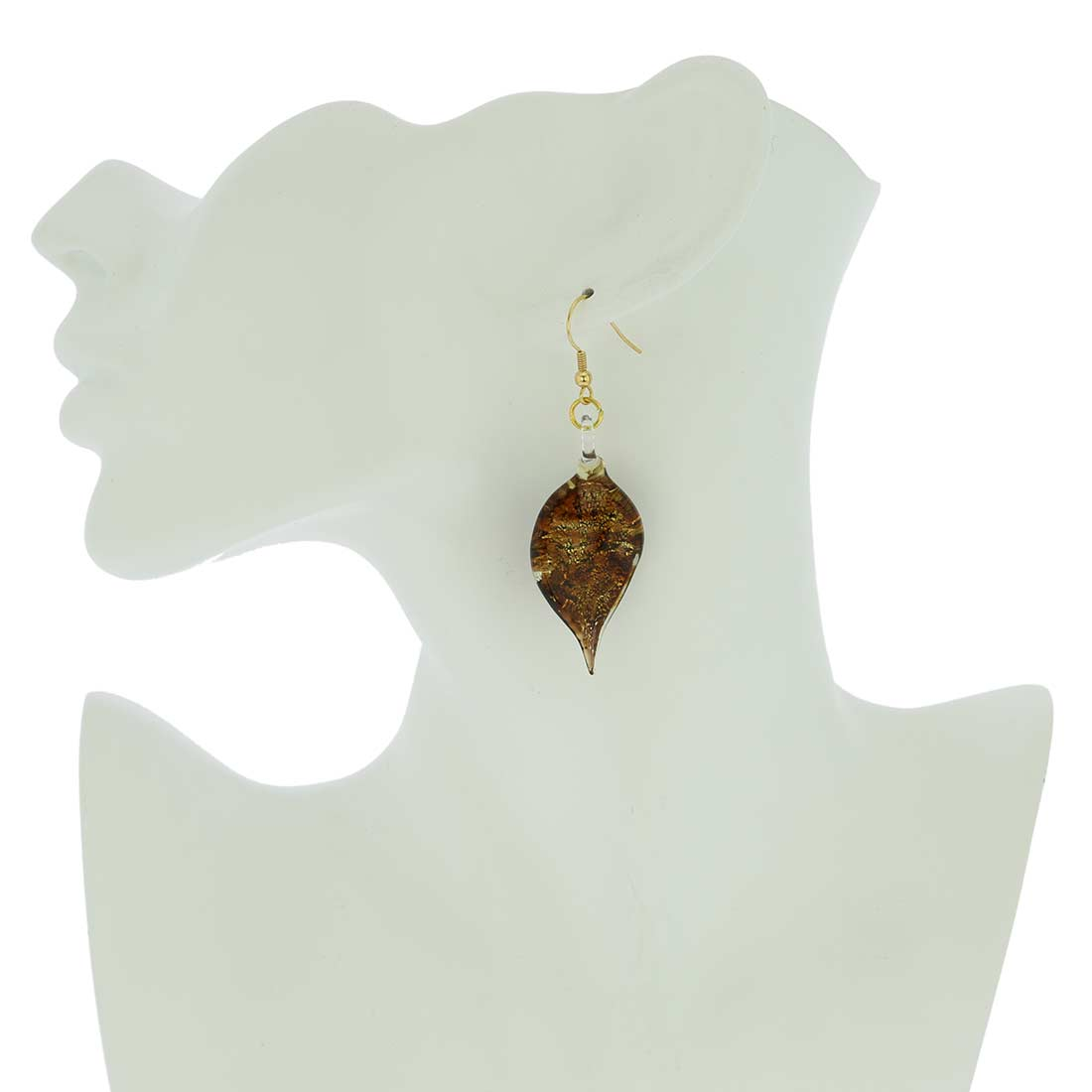 Amber Sparkle leaf-shaped earrings