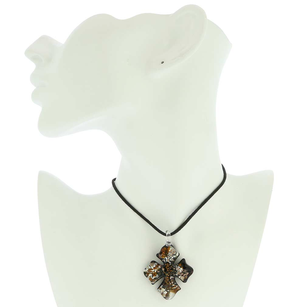 Amber Sparkle cross-shaped pendant