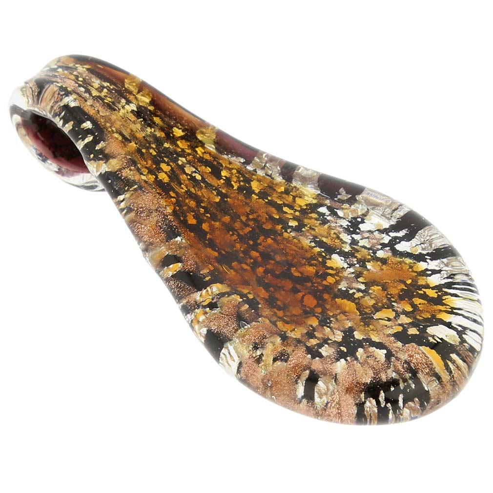 Amber Sparkle tear-shaped pendant