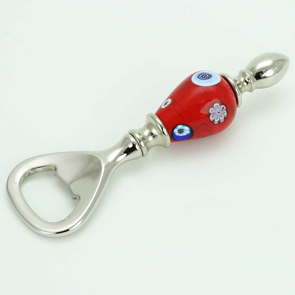 Murano Millefiori Bottle Opener - Red