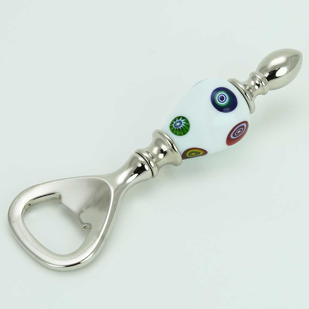 Murano Millefiori Bottle Opener - White