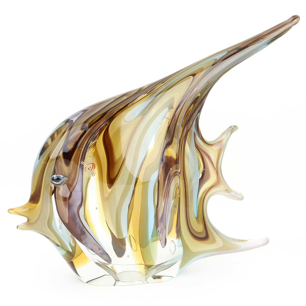 Murano Art Glass Angel Fish - Sommerso Swirls