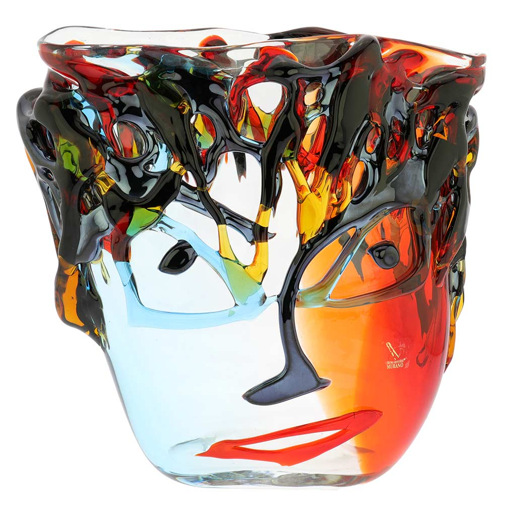 Murano Glass Picasso Head Vase - Wide