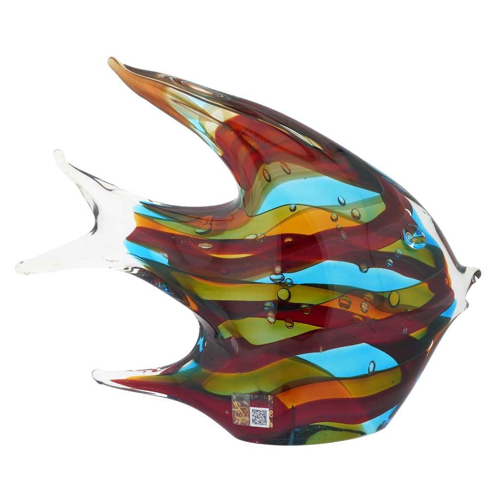 Murano Art Glass Wide Angel Fish - Sommerso