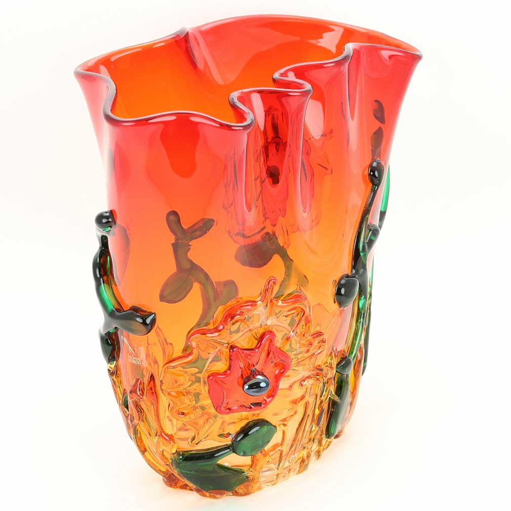 Murano Glass Abstract Flower Bowl