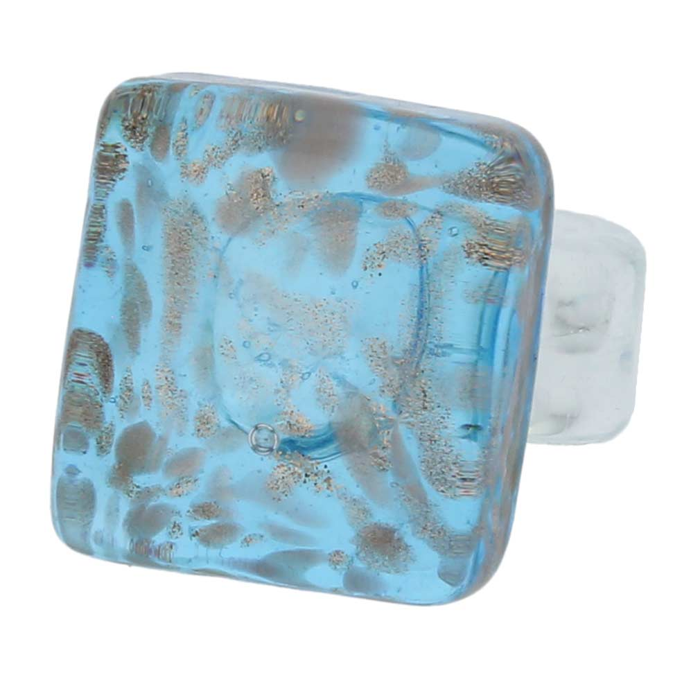 Starlight square ring - aquamarine