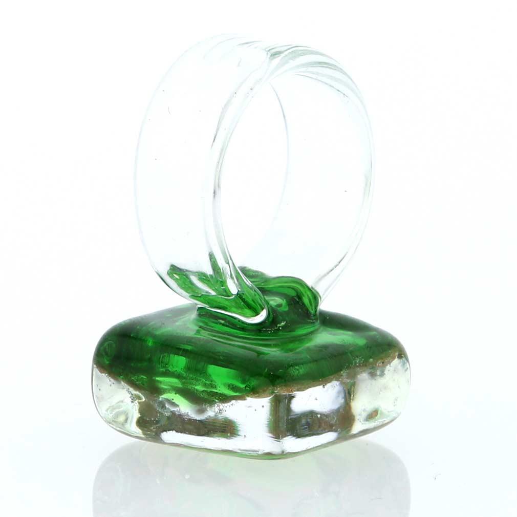 Starlight square ring - emerald