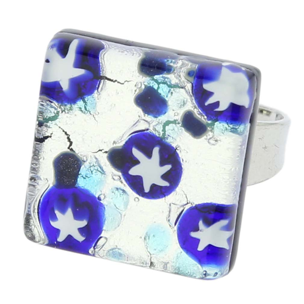 Venetian Reflections Ring Square - Blue Stars