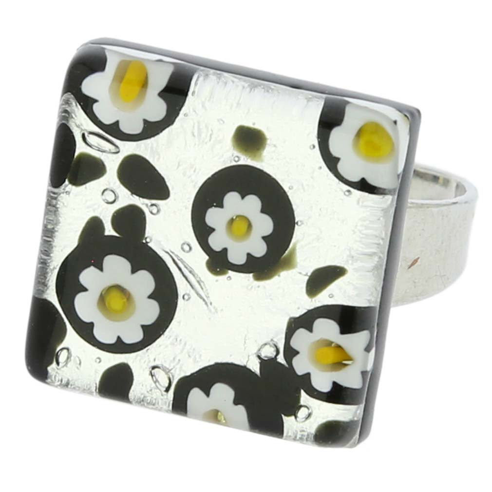 Venetian Reflections Ring Square - Silver Daisies