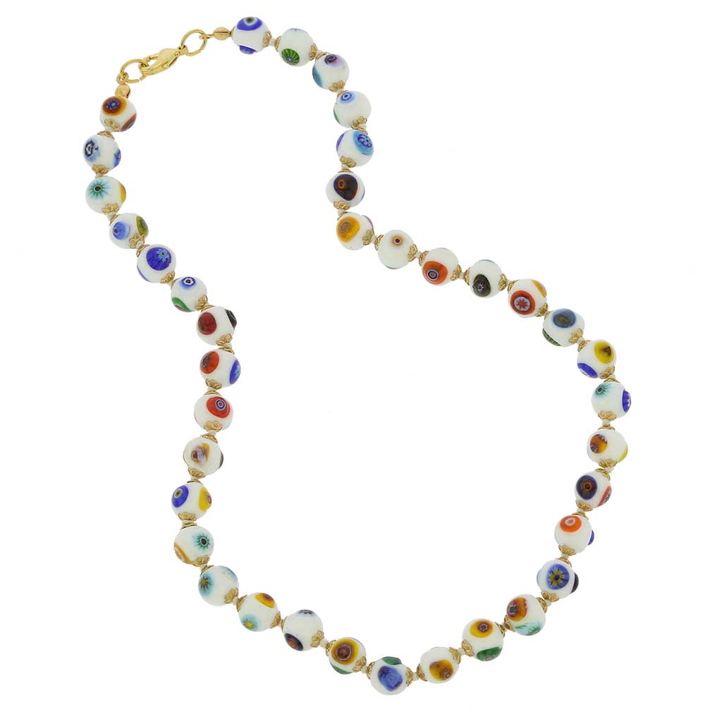 Murano Mosaic Necklace - White