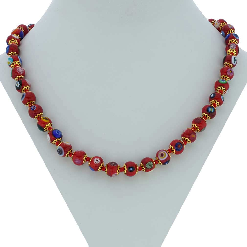 Murano Mosaic Necklace - Burgundy