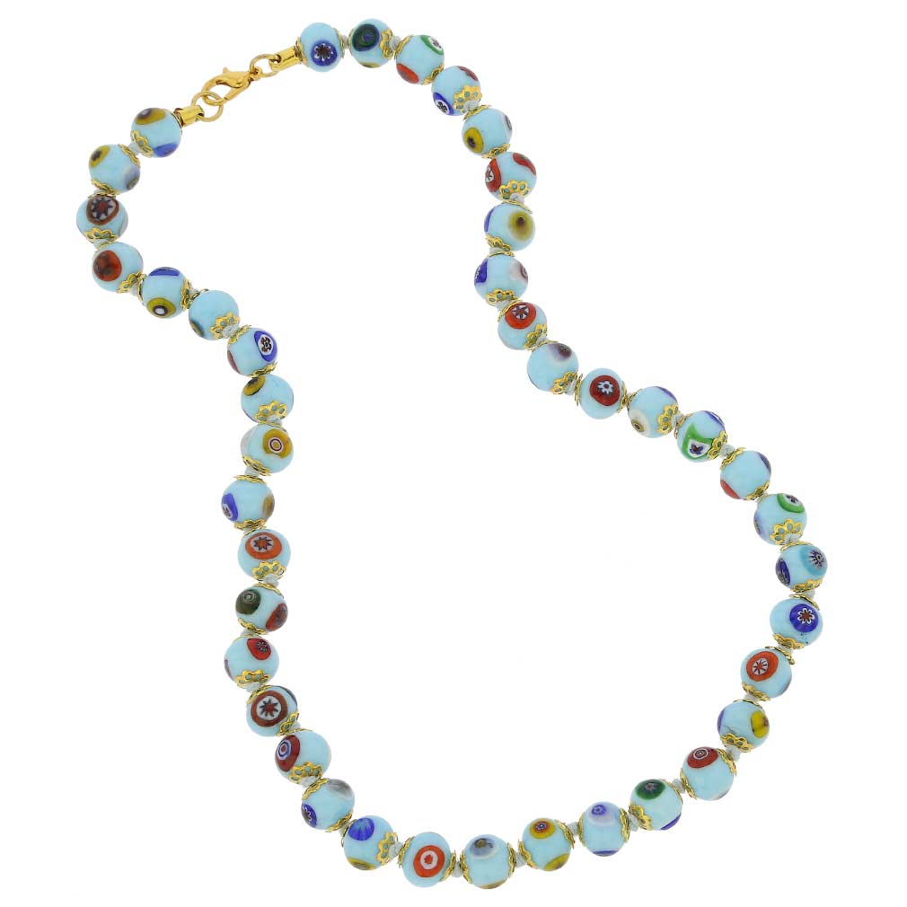 Murano Mosaic Necklace - Aqua