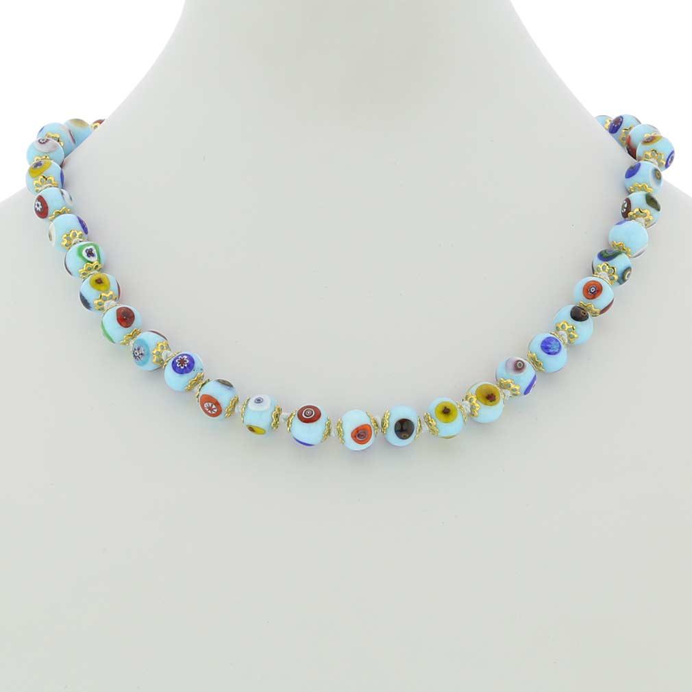 Murano Mosaic Necklace - Aqua