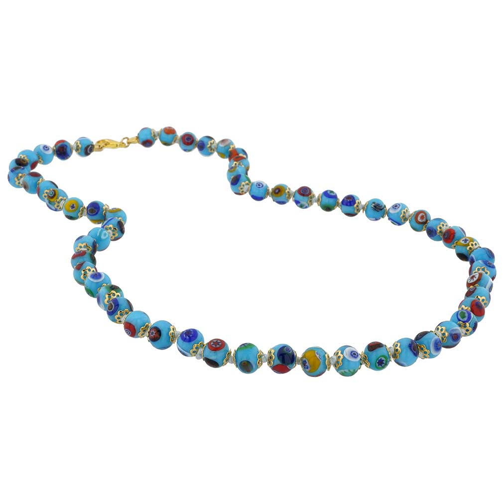 Murano Mosaic Long Necklace - Aqua