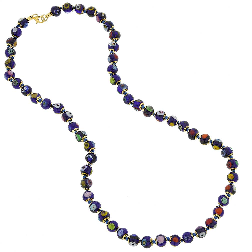 Murano Mosaic Long Necklace - Navy Blue