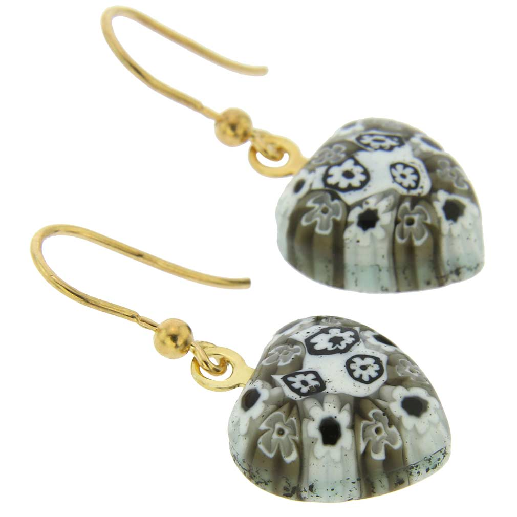 Millefiori heart earrings- gold