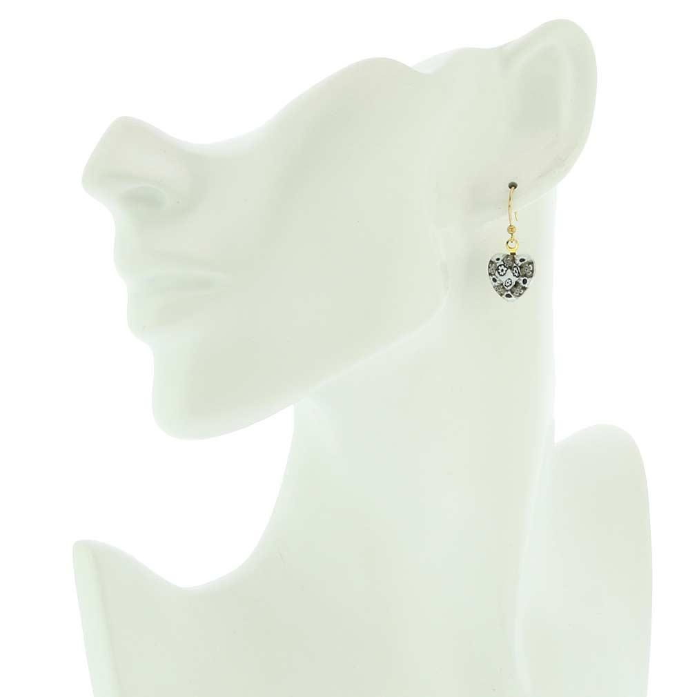 Millefiori heart earrings- gold