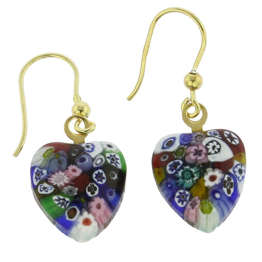 Millefiori Heart Earrings - Gold Multicolor
