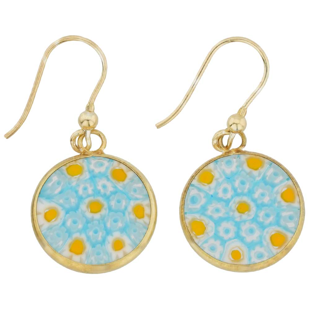 Millefiori round dangle earrings -gold