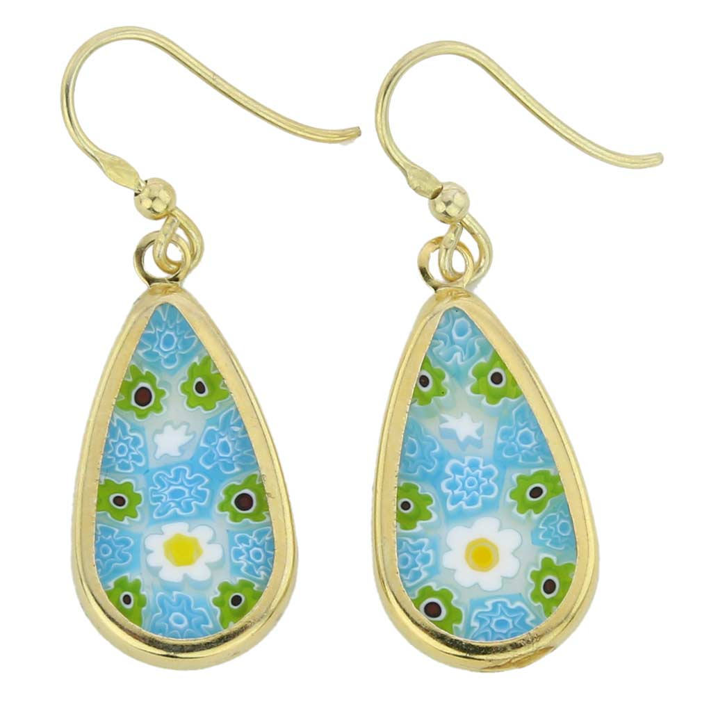 Millefiori drop earrings -gold