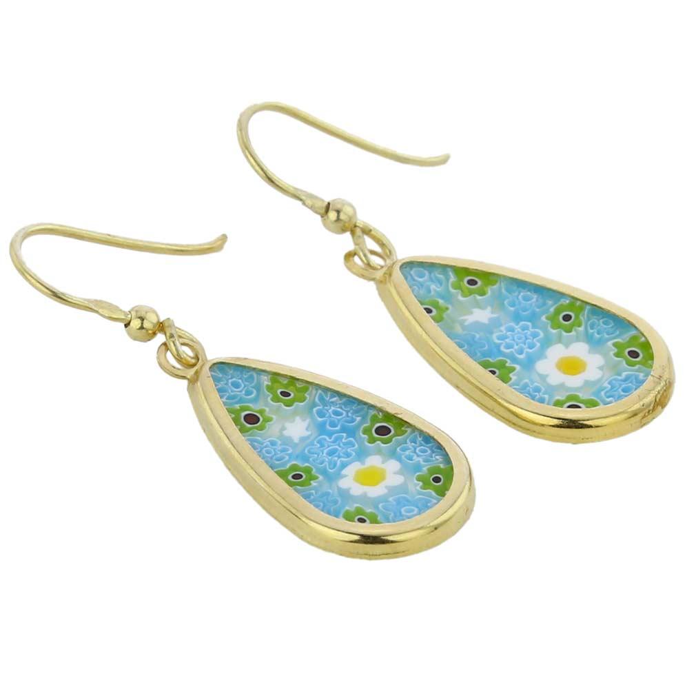 Millefiori drop earrings -gold