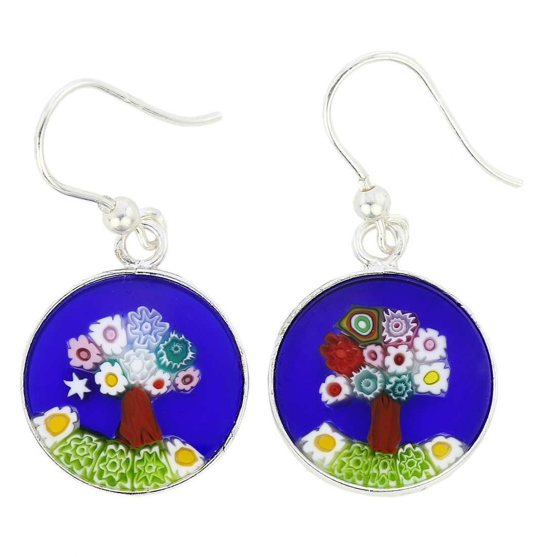 Millefiori round dangle earrings -silver