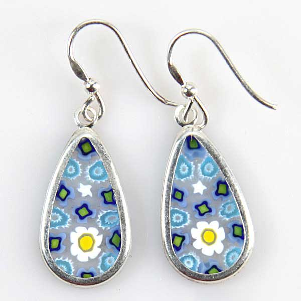 Millefiori drop earrings -silver