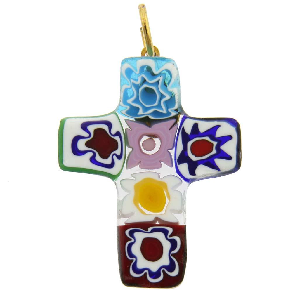 Millefiori glass cross pendant #4