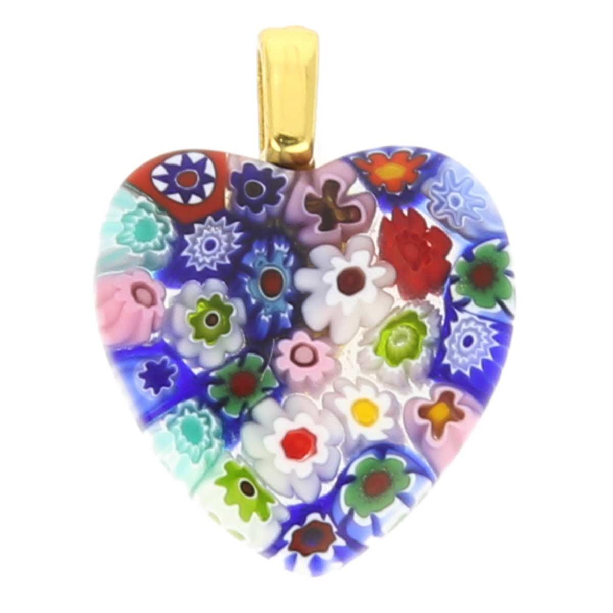 Millefiori heart pendant - gold