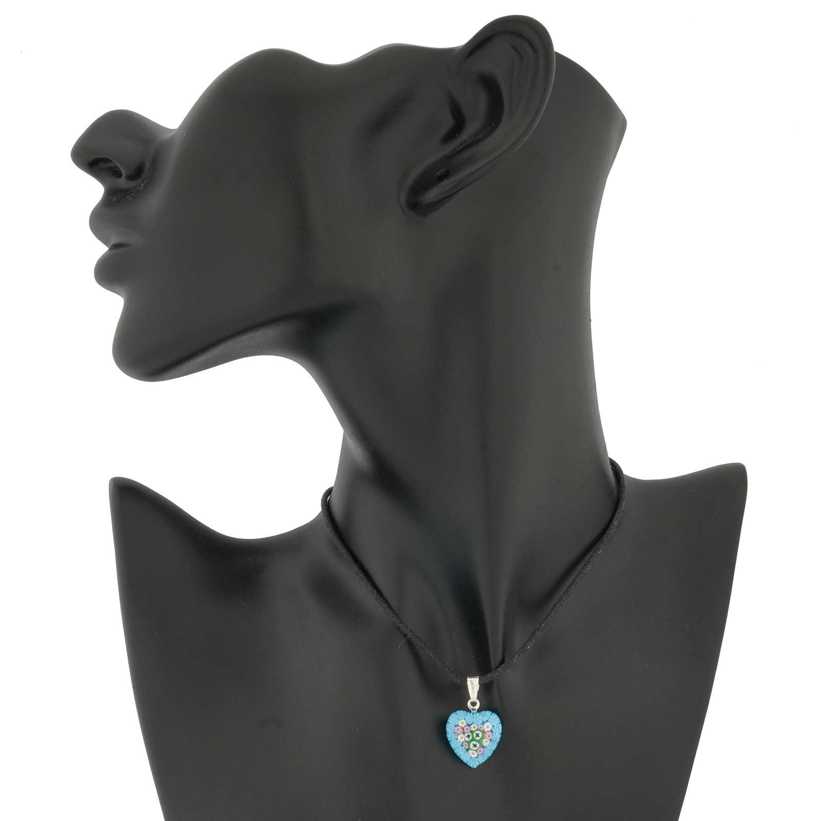 Millefiori heart pendant - silver