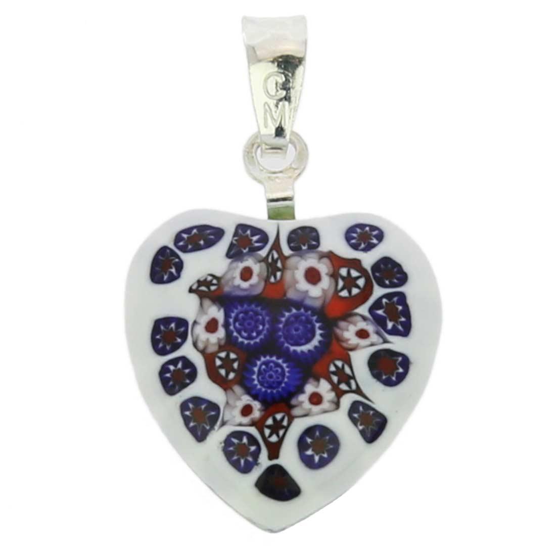 Millefiori heart pendant - silver #5