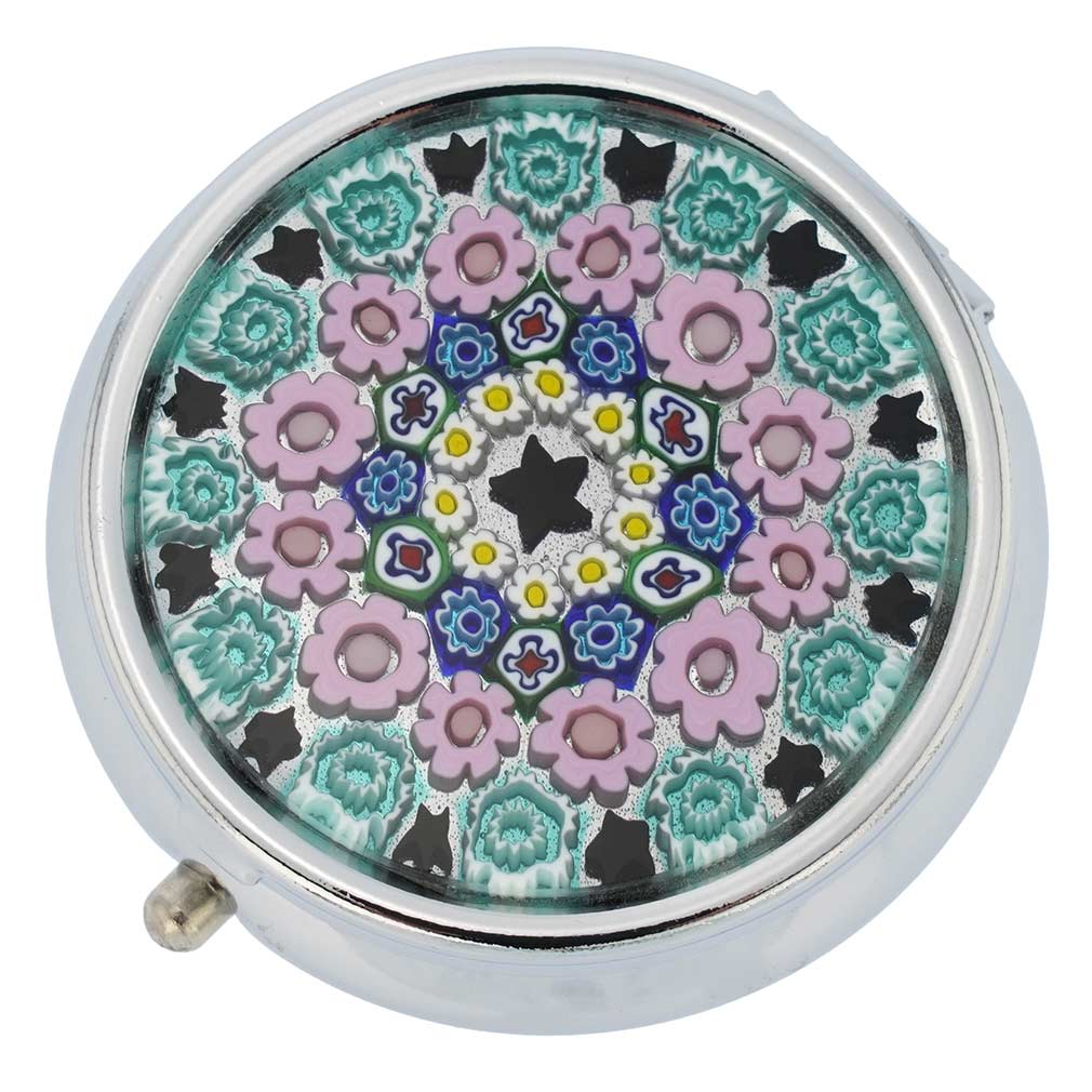 Small Murano Millefiori Pill Box - Silver Round