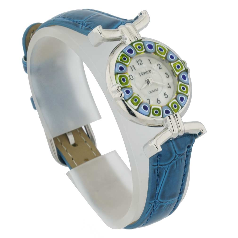 Murano millefiori watch with leather band - blue