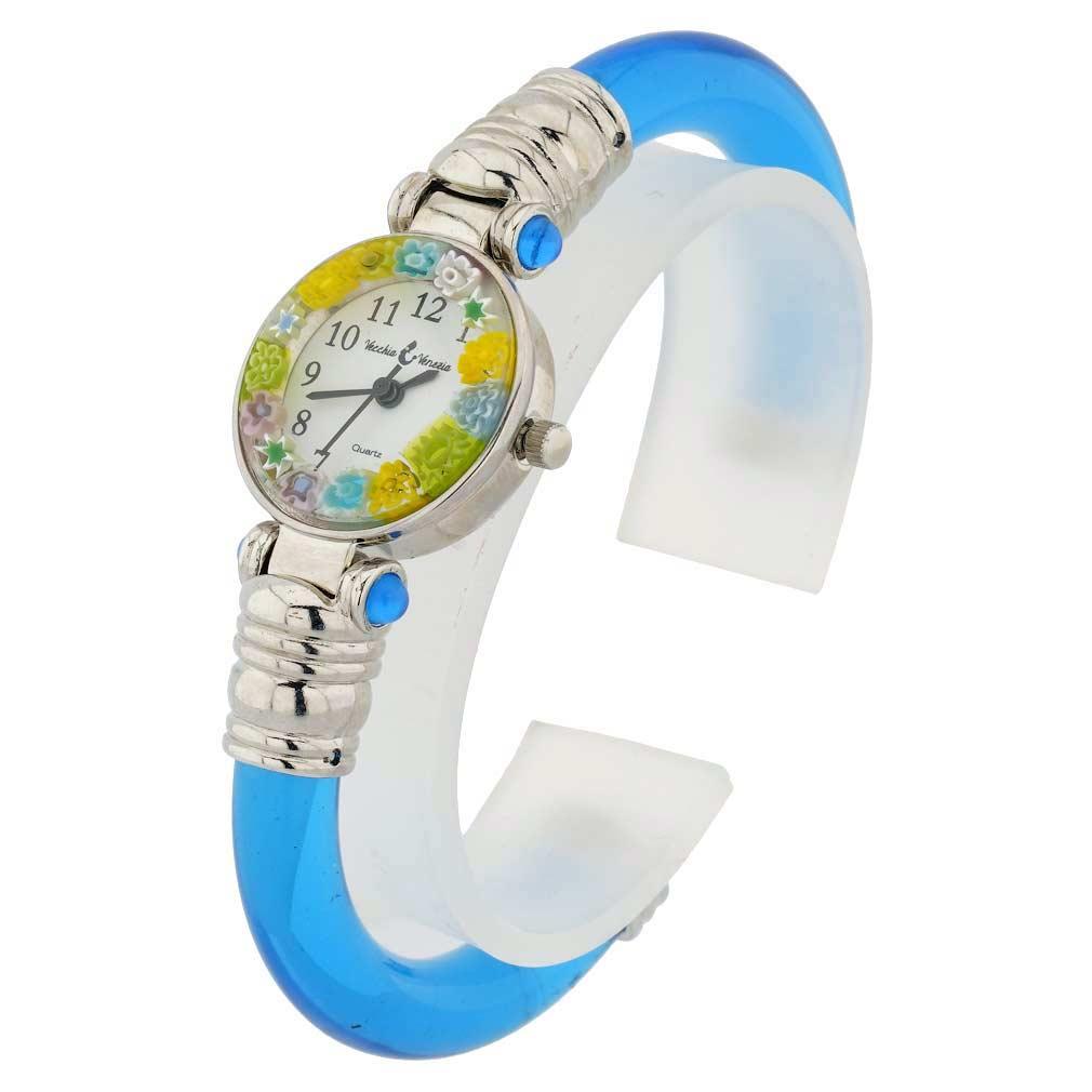 Murano millefiori bangle watch - Seafoam