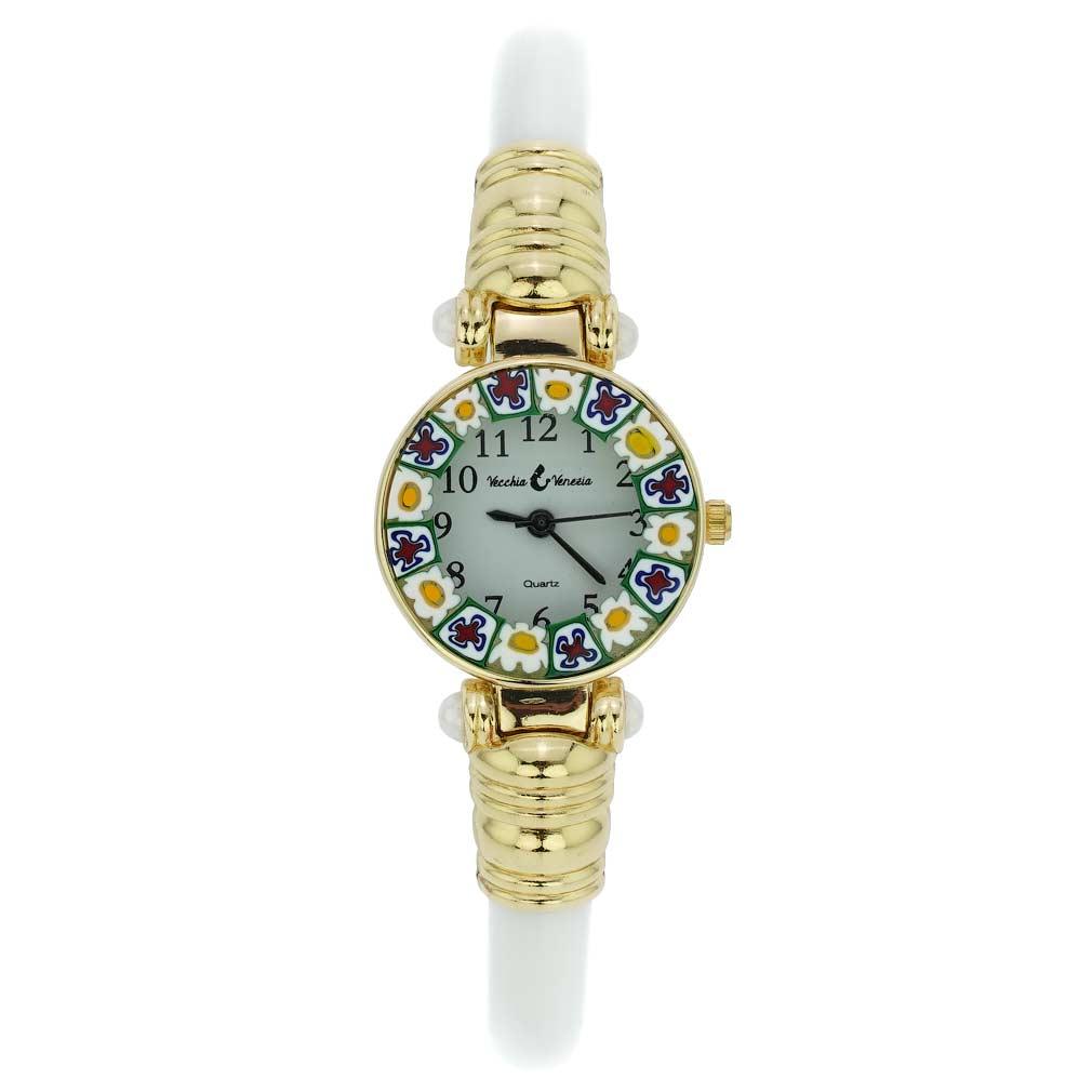 Murano millefiori bangle watch - ivory