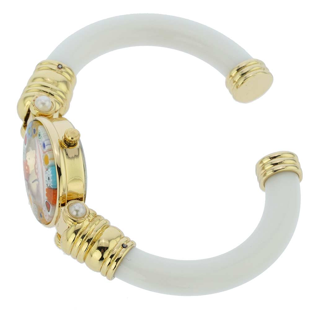 Murano millefiori bangle watch - ivory