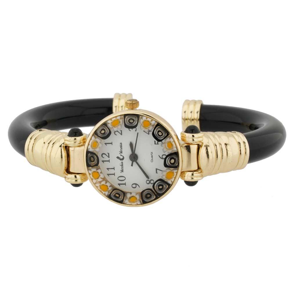 Murano millefiori bangle watch - black