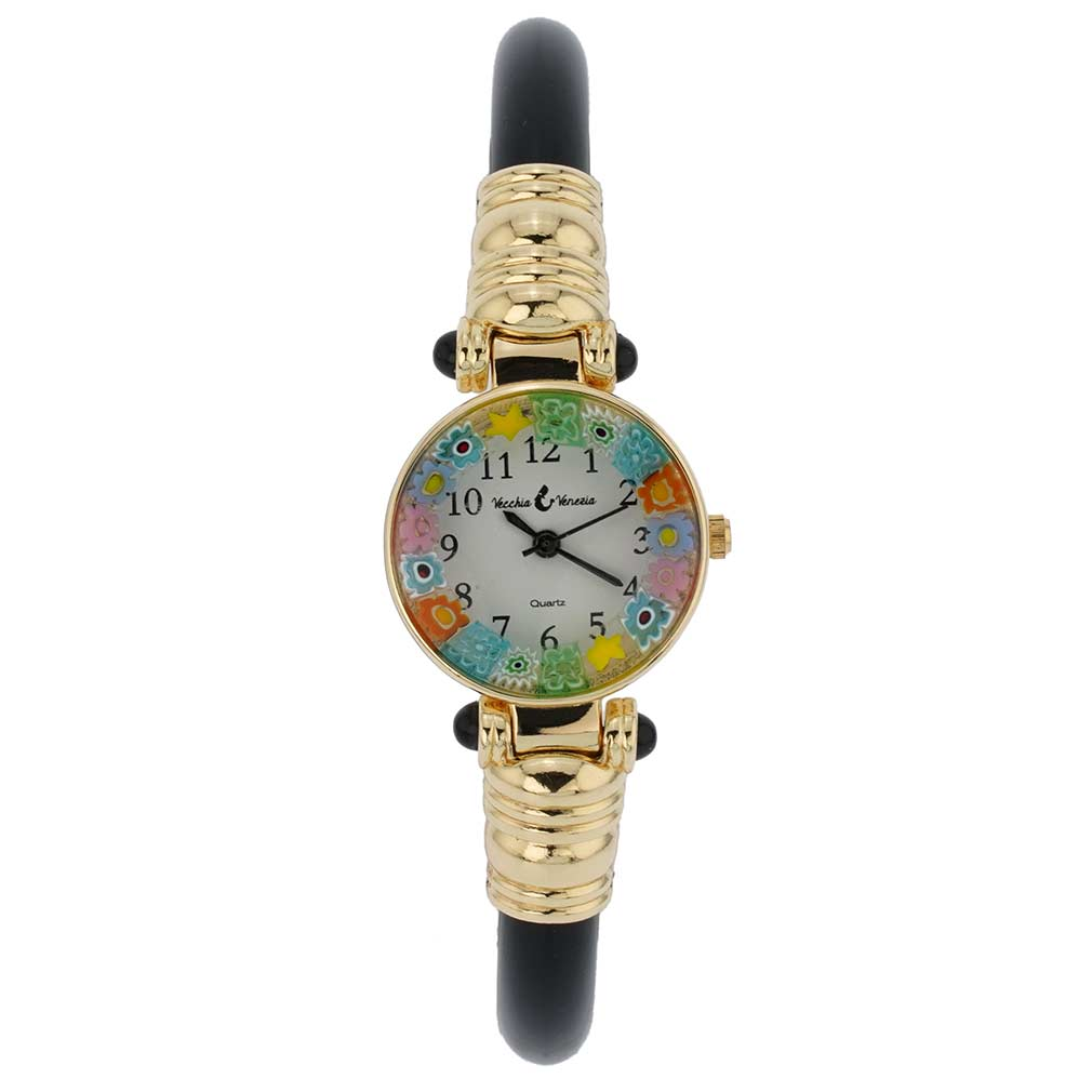 Murano millefiori bangle watch - black