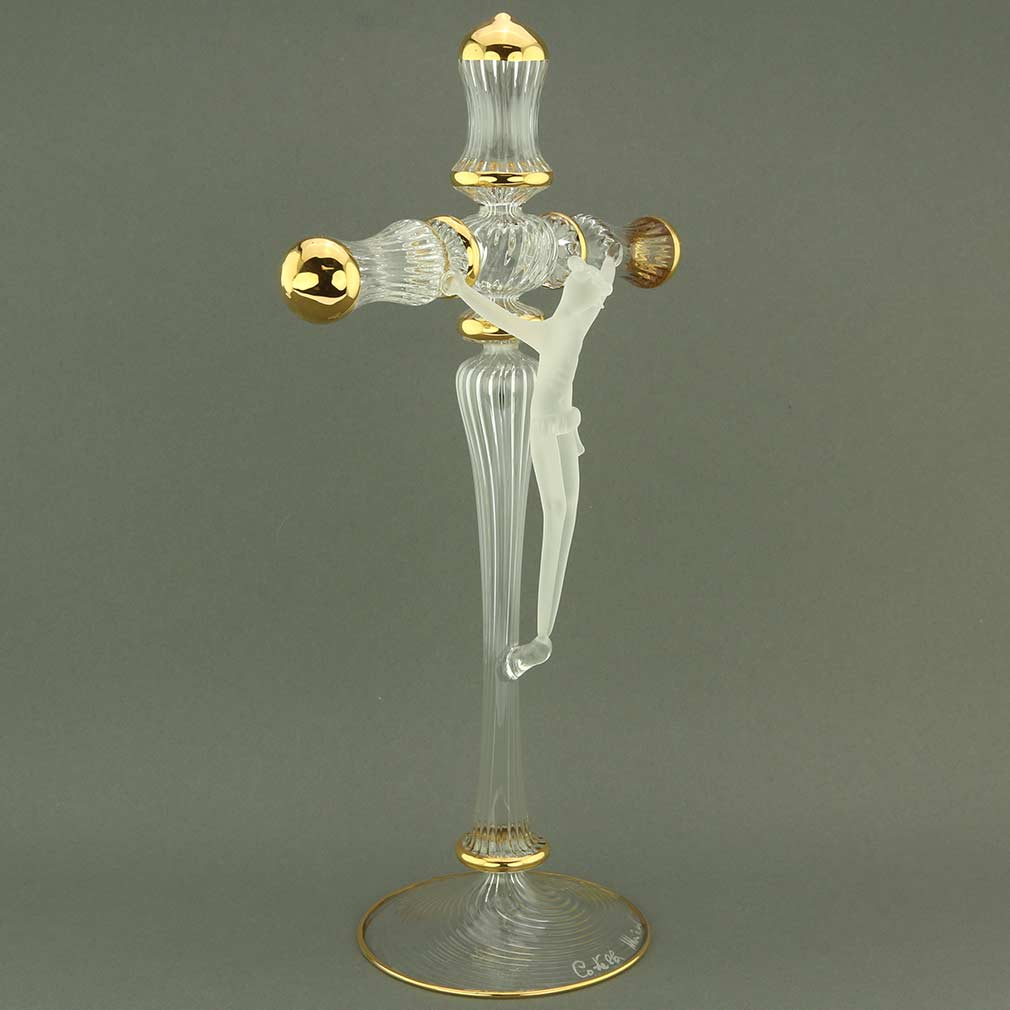 Murano Art Glass Cristallo Crucifix