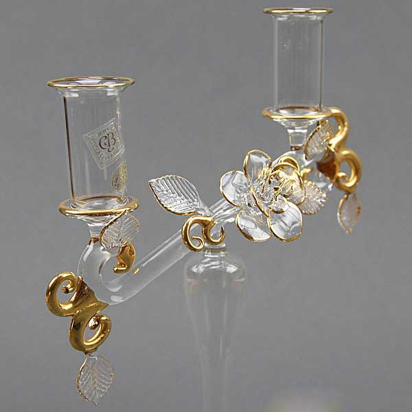 Cristallo and Gold Murano Glass Double Candle Holder