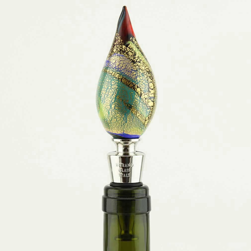 Murano Glass Chalcedony and Gold bottle stopper