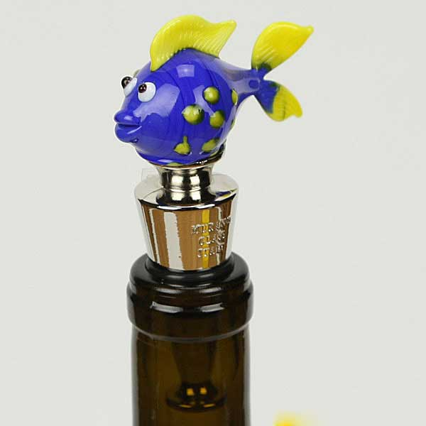 Murano Glass Fish bottle stopper - blue