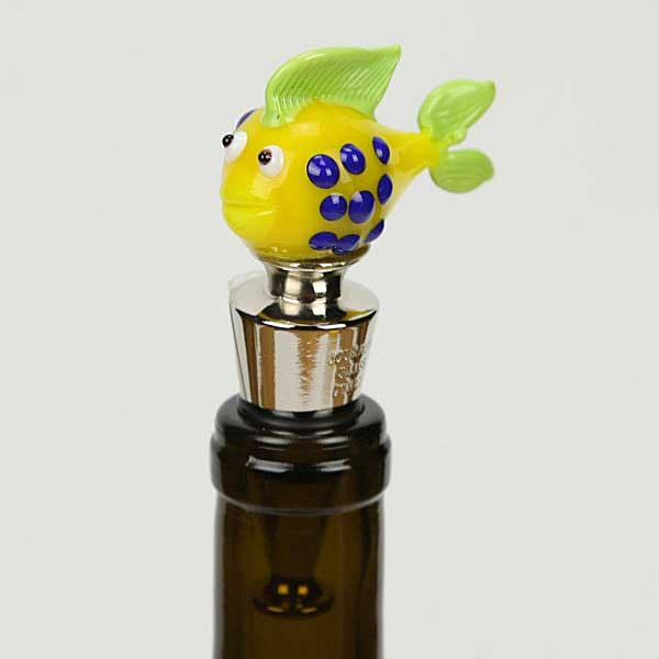 Murano Glass Fish bottle stopper - yellow