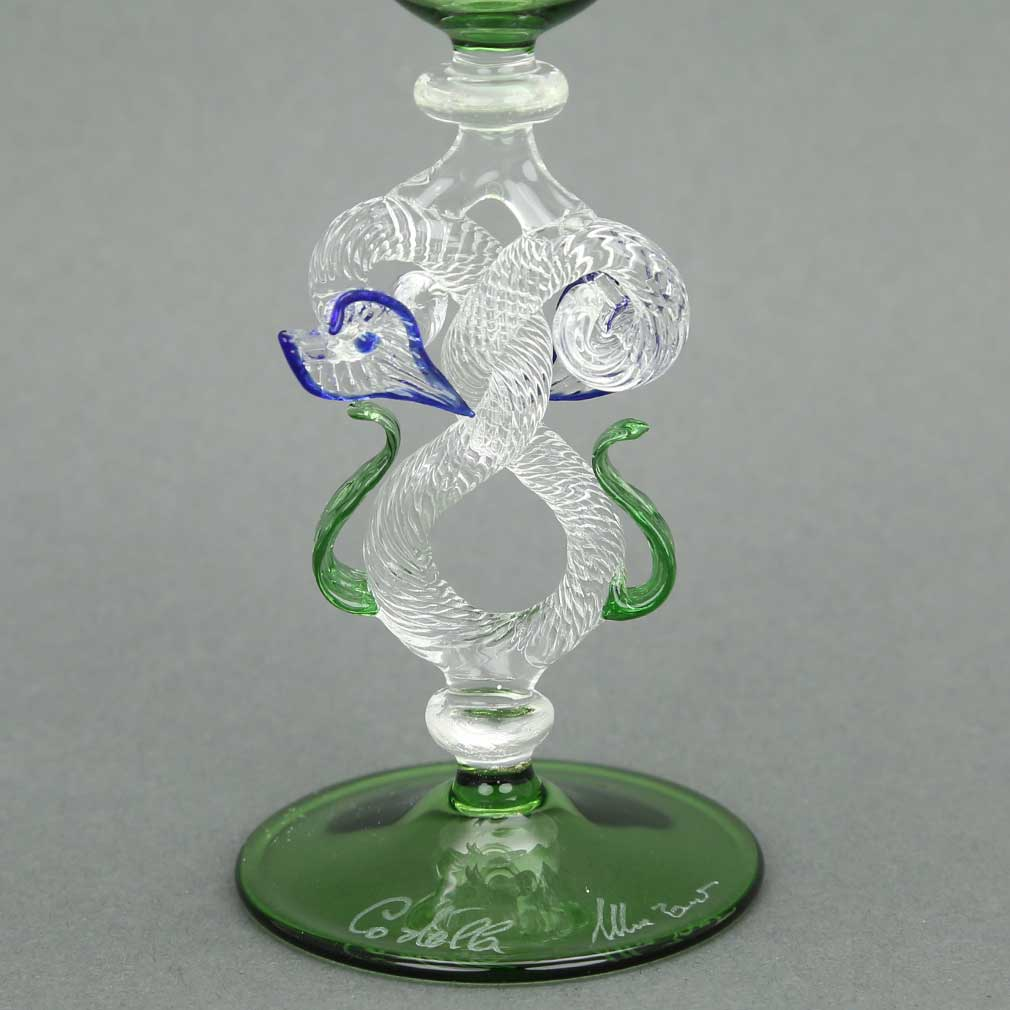Murano Glass Museum Goblet - Small Green and Cristallo